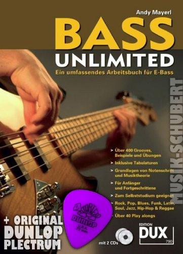 BASS UNLIMITED (+ 2 CDs) im Ringeinband inkl. Plektrum - ein umfassendes Arbeitsbuch für E-Bass mit über 500 Grooves in Noten und Tabulatur und über 40 Play-alongs - ideal auch zum Selbststudium