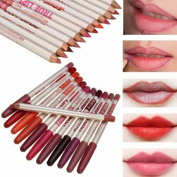 12 Colors Waterproof Eyeliner Lip Liner Pencil Pen Cosmetic Makeup Set Kit