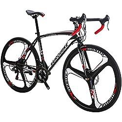 Eurobike XC550 Vélo de route 21 vitesses, double frein à disque, Homme, 49cm 3-Spoke wheel