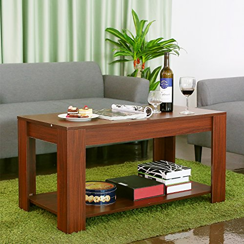 homfa couchtisch wohnzimmertisch beistelltisch tisch mit h henverstellbarer platte 100x50x 48 61. Black Bedroom Furniture Sets. Home Design Ideas