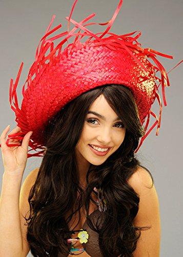ec7d44e498eb5 Adulto hawaiano Hula de rojo brillante paja sombrero