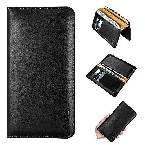 FLOVEME Universal Handyhülle Schwarz Premium PU-Leder Wallet Brieftasche 2 in 1 Schutzhülle Folio Cover mit Karte Slots 5.5 Zoll