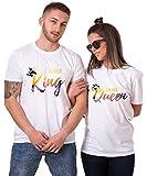 King Queen T-Shirt Set für Paar Tropic Auflage König Königin Partner Look Pärchen Shirt Geburtstagsgeschenk 2 Stücke (King-Queen, King-S + Queen-S)
