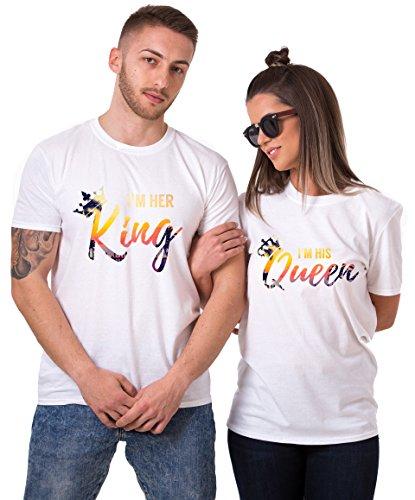 et für Paar Tropic Auflage König Königin Partner Look Pärchen Shirt Geburtstagsgeschenk 2 Stücke (King-Queen, King-L + Queen-S) ()