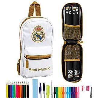 Real Madrid CF Plumier mochila 4 estuches llenos, 33 piezas, escolar