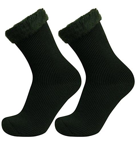 Well Knitting 2paia di spessore extra caldo e confortevole da lavoro invernali all' aperto sci escursionismo termico pettinato calze UK Size 7-12 Khaki L