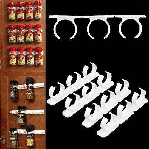 kingsea 4Sets Küche Clip Spice Greifer Jar Rack Aufbewahrung Halter Wand Schrank Tür (Wand-spice-rack-schrank)