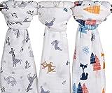 Baby Swaddle coperta in mussola, 47x 47(3pezzi) Fox & Deer & Girafe stampa in cotone biologico mussola coperta per neonati per ragazzi e ragazze, pannolini e copri passeggino–Baby Shower Gift