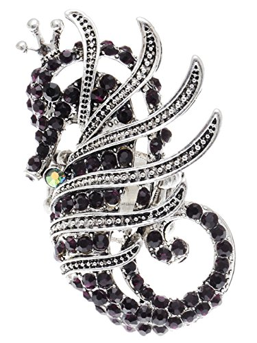 Alilang Frauen Stretchy Silber Ton Amethyst Farbige Strass Nautische Seahorse Ring