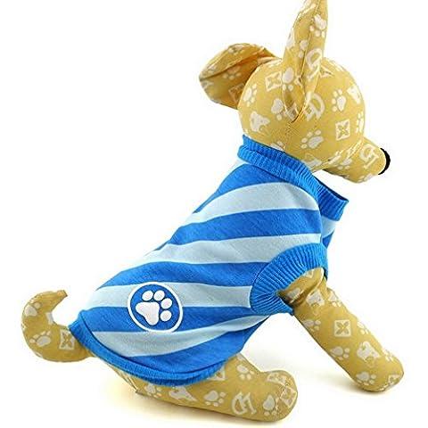 Ranphy T-shirt pour petit chien chiot d'été Vêtements pour garçons Rayures diagonales Gilet pour homme
