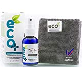 Eyeglass, Lens and Optical Cleaner 50ml - Fine Microfiber Towel - All Natural - MADE IN UK, GREEN PRODUCT, NO AMMONIA AND ALCOHOL, Cleans all dusts and stains, Use for Glasses, Sun Glasses, Reading Glasses, Camera Lens and Spectacles without harming the coating of the Glass/Lens