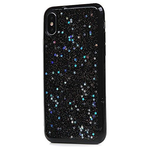 iPhone X Cover Silicone e Bling Glitter Brillanti, Custodia Morbida TPU Flessibile Gomma QuickSand Stella - MAXFE.CO Case Sottile Cassa Protettiva per iPhone X - Oro Rosa Argento