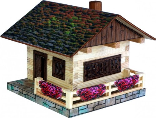 Walachia 91.9024-34 Holzbaukasten Alphütte-Berghütte Holzbausteine Modellbaukasten
