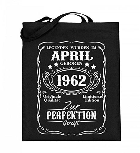 Hochwertiger Jutebeutel (mit langen Henkeln) - Legenden April Geburtstag Geschenk 1962 Schwarz
