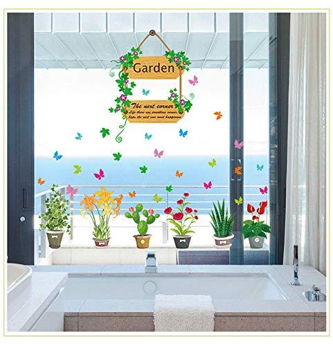 Wandaufkleber Fabrik Explosion Abschnitt Wandaufkleber Großhandel Bunte Schmetterling Blumen Töpfe Wohnzimmer Flur Glas Dekoration