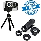 Raptas 8X Zoomer Optical Zoom Telescope Mobile Camera Lens And Stand With Universal Clip Lens Fish Eye, Wide Angle & Macro Lens Compatible With Xiaomi,Samsung,Sony,OnePlus 1/2/3/3T/5 ,Iphone And Other Smart Phones (1 Year Warranty)