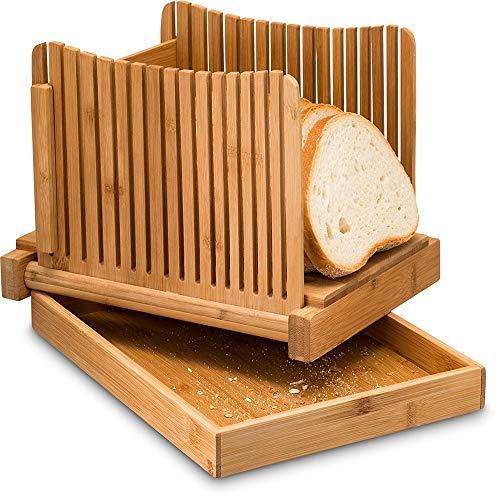 Affettatrice per pane Tagliere pieghevole multifunzione in bambù Tagliere per pane in legno Superficie antibatterica impermeabile Taglia regolabile fetta sottile Macchina per pane perfetta fatta