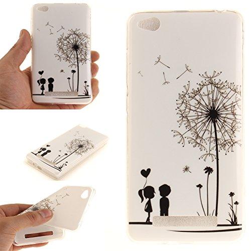 Qiaogle Teléfono Caso - Funda de TPU silicona Carcasa Case Cover para Xiaomi Redmi 4A (5.0 Pulgadas) - (TX04 / Diente de león pareja)