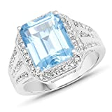 Ring Sterling-Silber 925 5,97 Karat echter Schweizer Blautopas und weißer Topas