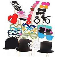 VDOTT® Set di articoli per travestimento, per festa, con baffi, labbra, occhiali, cravatta, cappelli, per cabina fotografica Photo Booth, oggetti di scena e accessori per matrimonio, un souvenir della festa
