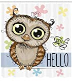 Abakuhaus Eulen Duschvorhang, Cartoon Butterfly Hello, Trendiger Druck Stoff mit 12 Ringen Farbfest Bakterie und Wasser Abweichent, 175 x 200 cm, Multicolor