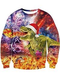 TUONROAD Unisex Ugly Christmas Sweatshirt 3D Imprimé Xmas Pull Funny Jumpers Col Rond Sweat À Manches Longues Jumper Vêtements S-XXL