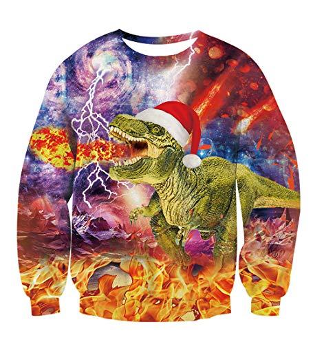 TUONROAD Hässliche Weihnachtspullover Dinosaurier Weihnachten Ugly Christmas Sweater Hässliche Pullover Weihnachten Ugly Sweater