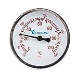 Lantelme 5926-120 °C Grad Thermometer für Heizung mit Messing Tauchhülse Zeigerthermometer Skala rot - Analog und Bimetall