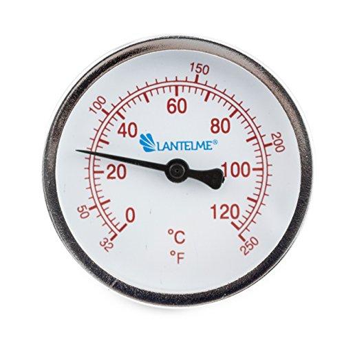 Messing-anzeige (Lantelme 5926 - 120 °C Grad Thermometer für Heizung mit Messing Tauchhülse . Zeigerthermometer Skala rot - Analog und Bimetall)
