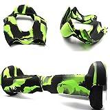 Coque de protection à 180 ° en silicone pour hoverboard et trottinette électrique à deux roues de 16,5 cm (Vert+noir)