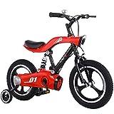 WJSW Bicicletta, Luce Gonfiabile a Una Ruota in Lega di Alluminio da 16 Pollici + Musica + Ruota ausiliaria con Freno a Mano Bicicletta a LED per Bambini di 2-9 Anni Rosso