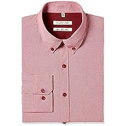 Excalibur Men's Formal Shirt (8907542558582_400016479614_42_Red)