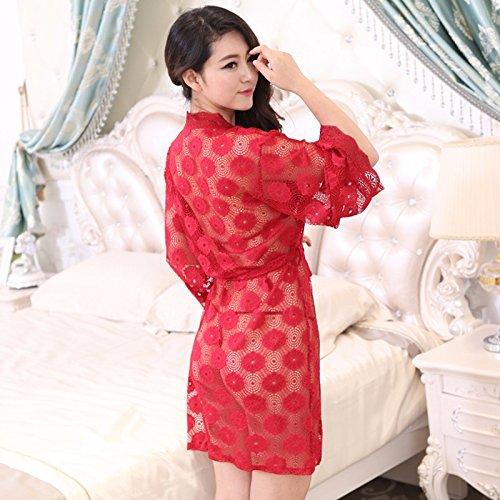 lpkone-Chers vêtements sexy chemise sexy dentelle transparente mince couche transparente en chemise longue accueil services?moins de 65KG peut porter des?,purple Red
