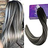 LaaVoo 1g Extensions a Froid Cheveux Naturel Noir Balayage Silver Tie and Dye 50cm Fusion Hair Loop Rings Invisible 50 Meche Pose a Froid