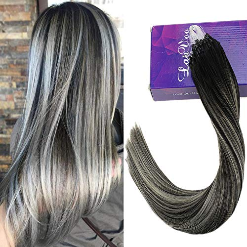 Laavoo 20pollice/50cm hair extension micro ring silicone individuale 50filo per pacco colore nero naturale lisci con argento/silver 1g