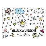 Große XXL Glückwunschkarte A4 (Glückwunsch mit gezeichneten Symbolen) mit Umschlag - Edle Design Geburtstagskarte zum Geburtstag