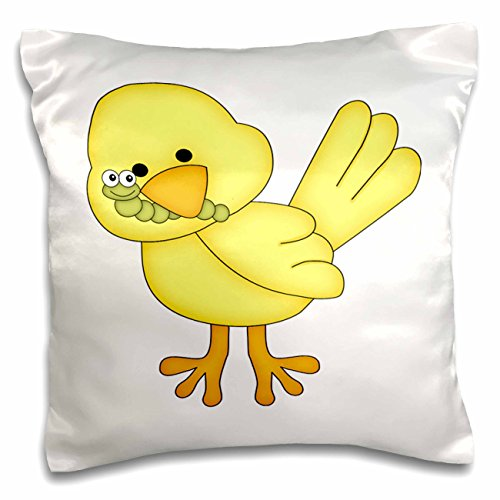 Anne Marie Baugh - Illustrations - Cute Yellow Bird With A Worm Illustration - 16x16 inch Pillow Case (pc_211183_1)