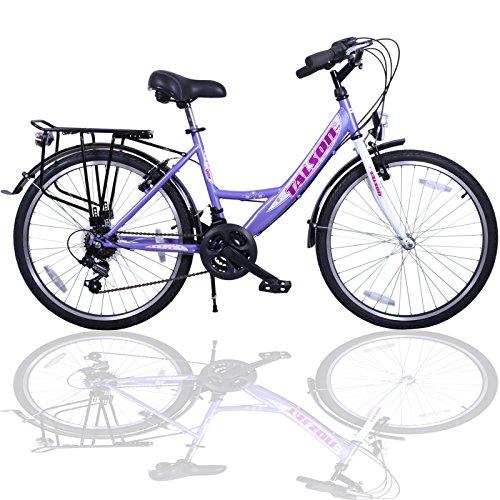 24 Zoll Fahrrad 21-Gang Shimano SCHALTUNG MIT Beleuchtung Lila-Weiss Talson
