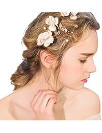 YAZILIND tocado belleza nupcial clip de pelo de aleaci¨®n de flores de cuentas de pelo de la boda accesorios fiesta mujeres y ni?as (1 PC)