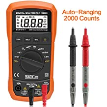 Tacklife DM03 Multímetro Digital con diodo ,Auto-Ranging,Counts 2000,Resistencia 20mΩ ,Voltaje&Corriente CA/CC