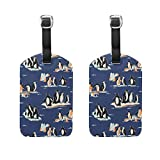 COOSUN Penguin Pattern Luggage Tags Travel Labels Tag Name Card Holder for Baggage Suitcase Bag Backpacks, 2 PCS