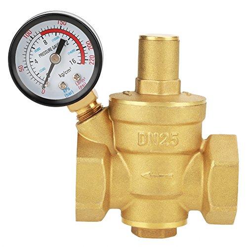 DN25 Valvola di scarico in ottone Regolatore di riduzione della pressione dell\'acqua regolabile Riduttore + Indicatore di livello