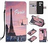 Ougger Custodia per LG Nexus 5X Cover Case, Portafoglio PU Pelle Magnetico Stand Morbido Silicone Flip Bumper Protettivo Gomma Shell Borsa Custodie con Slot per Schede, Torre Eiffel