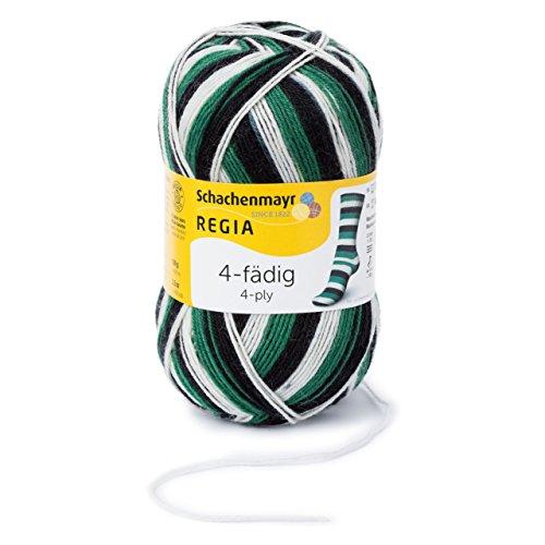 REGIA 4-fädig Color 9801269-05390 schwarz/weiß/grün Handstrickgarn, Sockengarn, 100g Knäuel