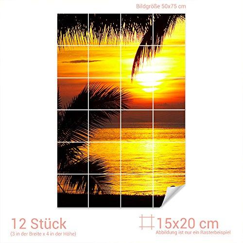 Graz Design 761239_15x20_50 Fliesenaufkleber Fliesenbild Sonnenuntergang   Wand-Deko für Bad/Küchen-Fliesen (Fliesenmaß: 15x20cm (BxH)//Bild: 50x75cm (BxH))