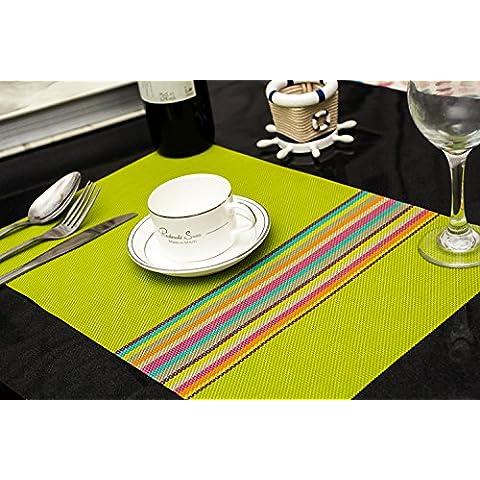 Clest F&H trenzado Rainbow stripes green PVC Mantel individual / Salvamanteles para comedor , Juego de 2 piezas 45 x 30 cm