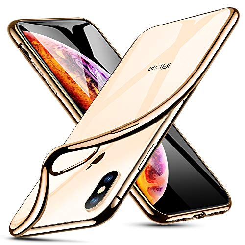 ESR Hülle für iPhone XS Max, Transparent Weiche Silikon [ Ultradünnen ] Flexibel Bumper Handyhülle Durchsichtig TPU Kratzfest Handy Schutzhülle für iPhone XS MAX (6,5 Zoll) - Gold