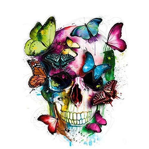 Kit de lienzo calavera y mariposas para Pintura por Números,...