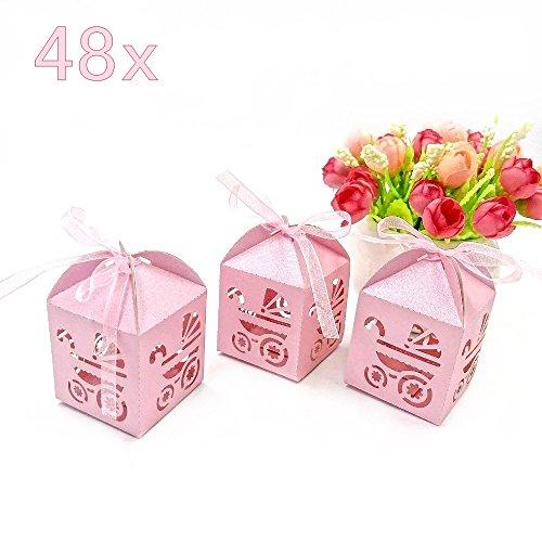 JZK 48 x rosa bebé cochecito de papel nacarado bebé niña fiesta baby shower caja favor cajas de regalo para baby shower, fiesta de cumpleaños de bebé, madre para ser parte, Sagrada comunión, baut