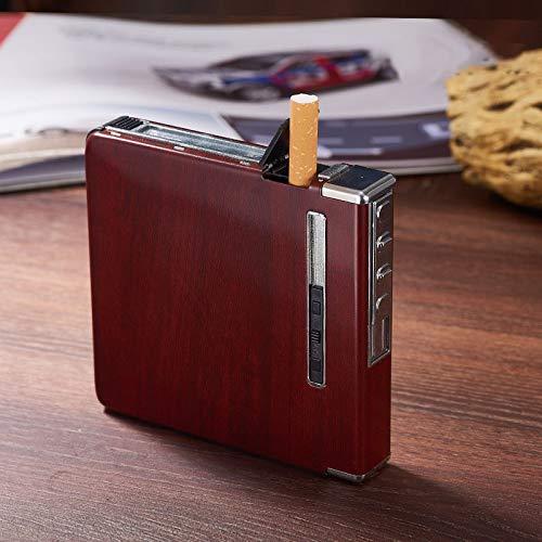 XuBa Automatischer Zigarettenetui aus Aluminium mit wiederaufladbarem USB Winddicht Feuerzeuge für 20 Zigaretten Red Wood Grain